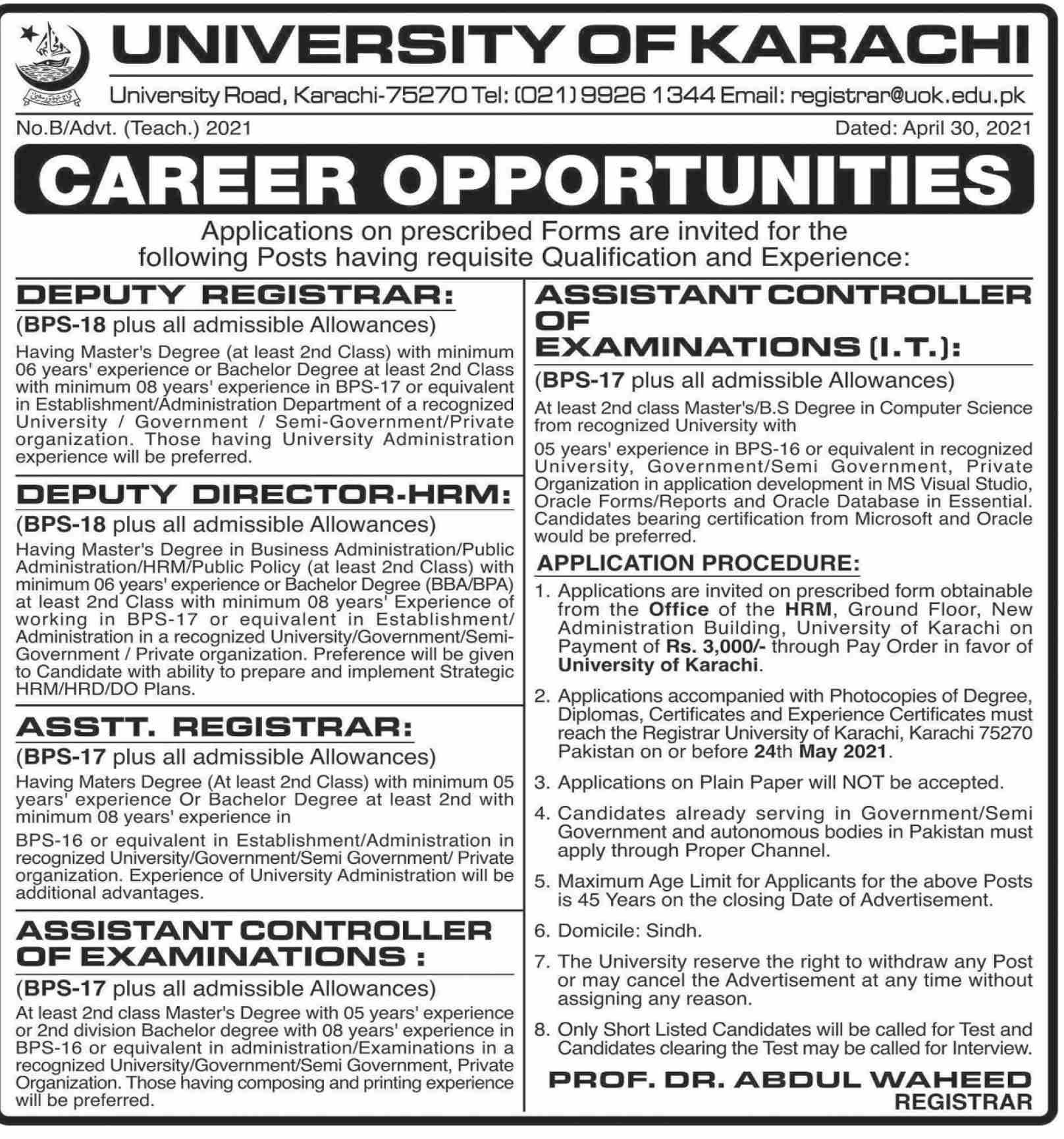 University of Karachi UOK Jobs 2021