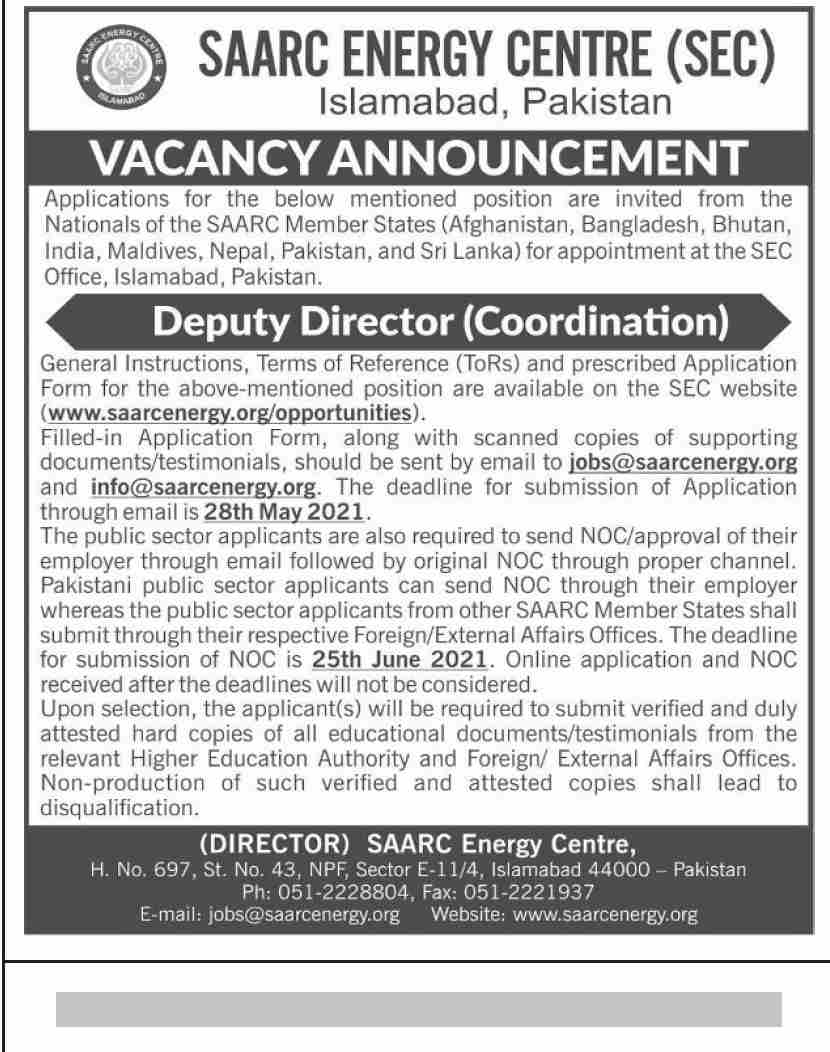 SAARC Energy Center SEC Islamabad Jobs 2021