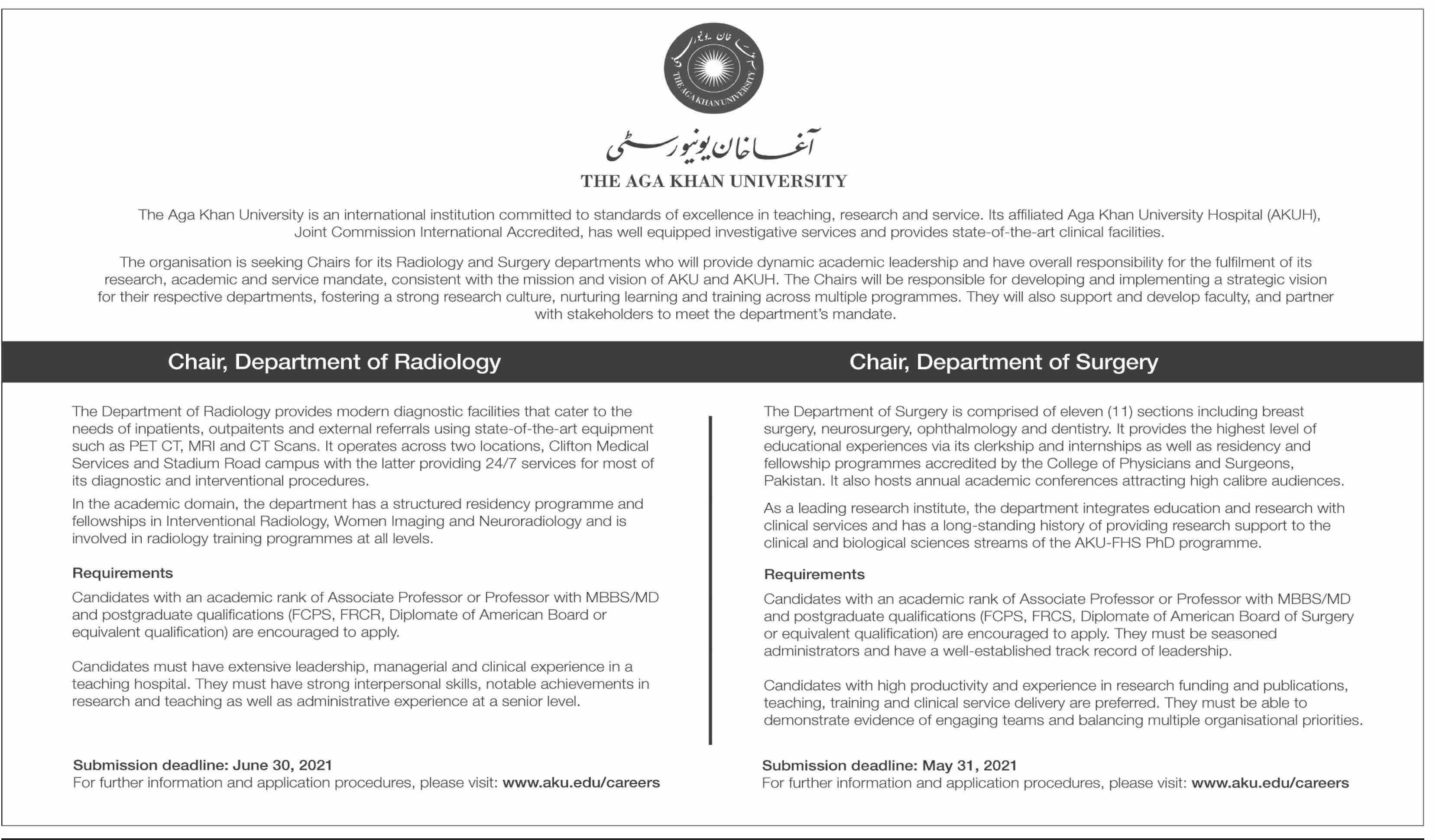 The Aga Khan University Jobs 2021 in Karachi