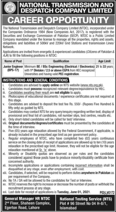 National Transmission and Despatch Company Job 2021 via NTS