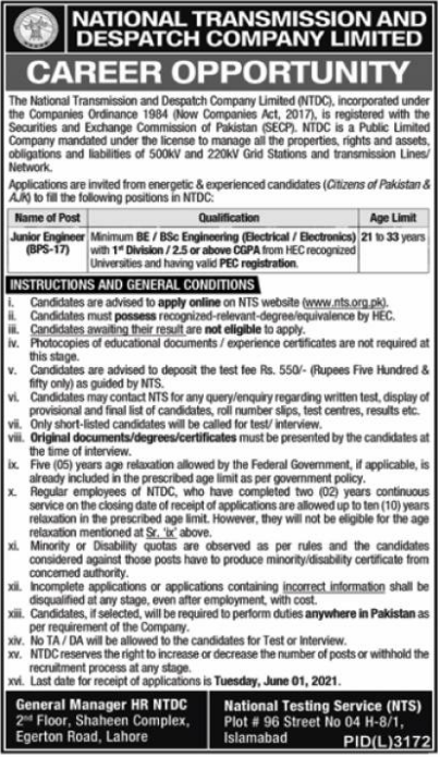 National Transmission and Dispatch Company Limited Jobs 2021