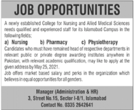 College for Nursing and Allied Medical Sciences Jobs 2021