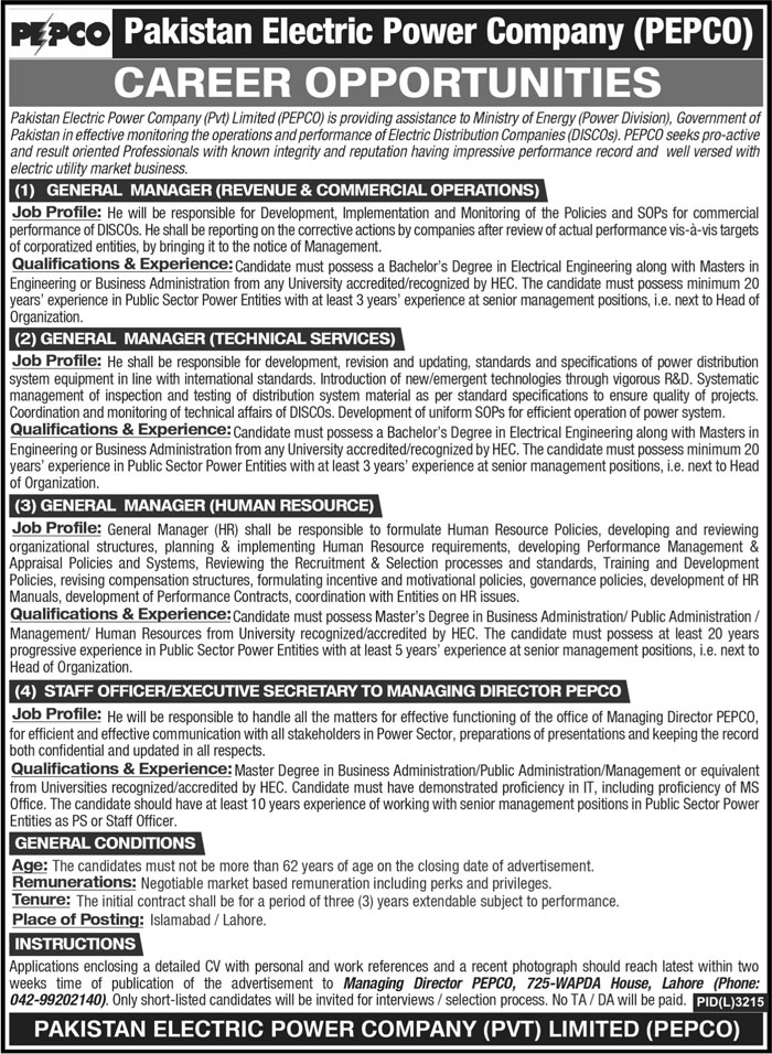 Pakistan Electric Power Company PEPCO Jobs 2021