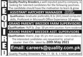 Quality Poultry Breeders Jobs 2021 in Islamabad