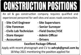 Construction Staff Jobs 2021 in Rawalpindi