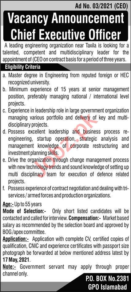 P O Box No 2381 GPO Islamabad Jobs 2021 for CEO