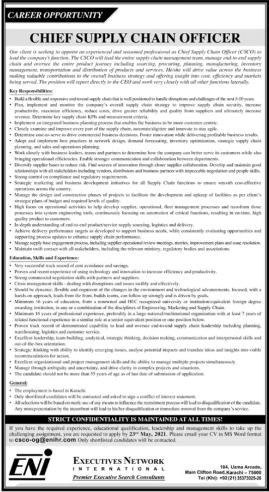 Chief Supply Chain Officer Job 2021 in Karachi