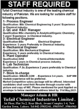 Tufail Chemical Industries Limited Jobs 2021 in Lahore