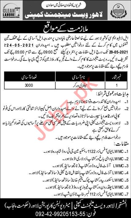 Sanitary Worker Jobs 2021 in Lahore Waste Management Company