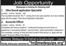 Ultra Sound Application Specialist & Accounts Officer Jobs