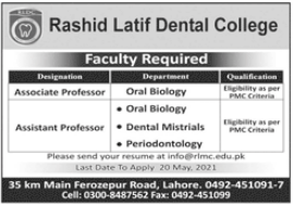 Rashid Latif Dental College Faculty Jobs 2021 in Lahore