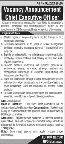 Chief Executive Officer CEO Job 2021 in Taxila