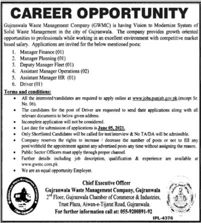 Gujranwala Waste Management Company Jobs 2021