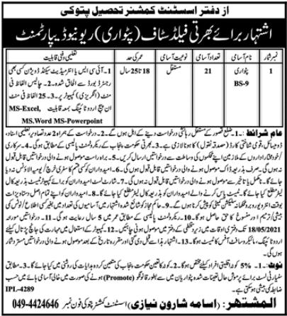 Revenue Department Jobs 2021 For Patwari in Pattoki
