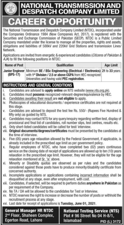 National Transmission & Despatch Company Job 2021 via NTS