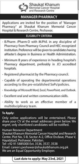 Manager Pharmacy Job 2021 in Peshawar KPK