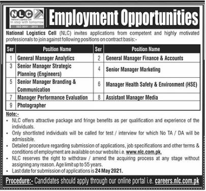 NLC Jobs 2021 For Management Staff in Rawalpindi