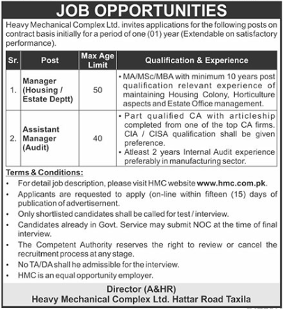 Heavy Mechanical Complex Limited Jobs 2021 in Taxila