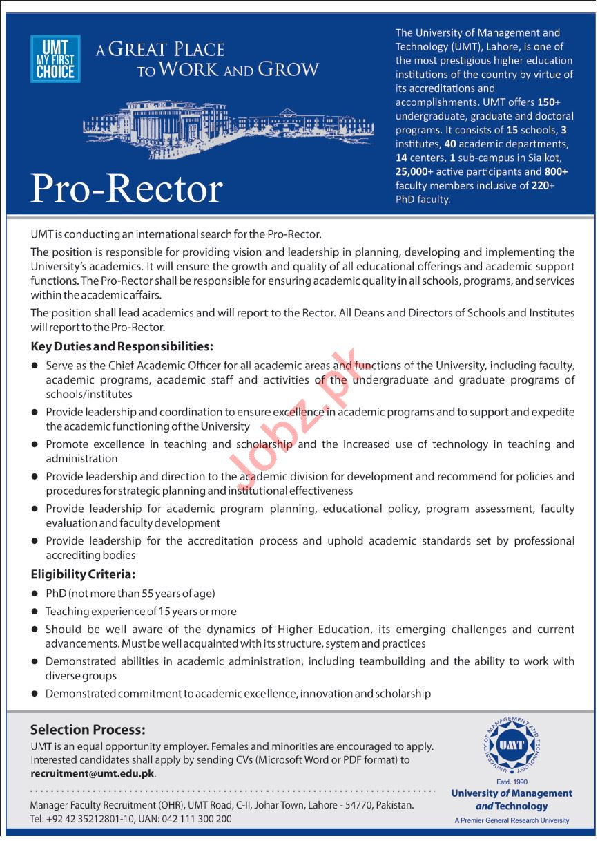 University of Management & Technology UMT Lahore Jobs 2021