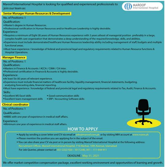 Maroof International Hospital Jobs 2021 in Islamabad