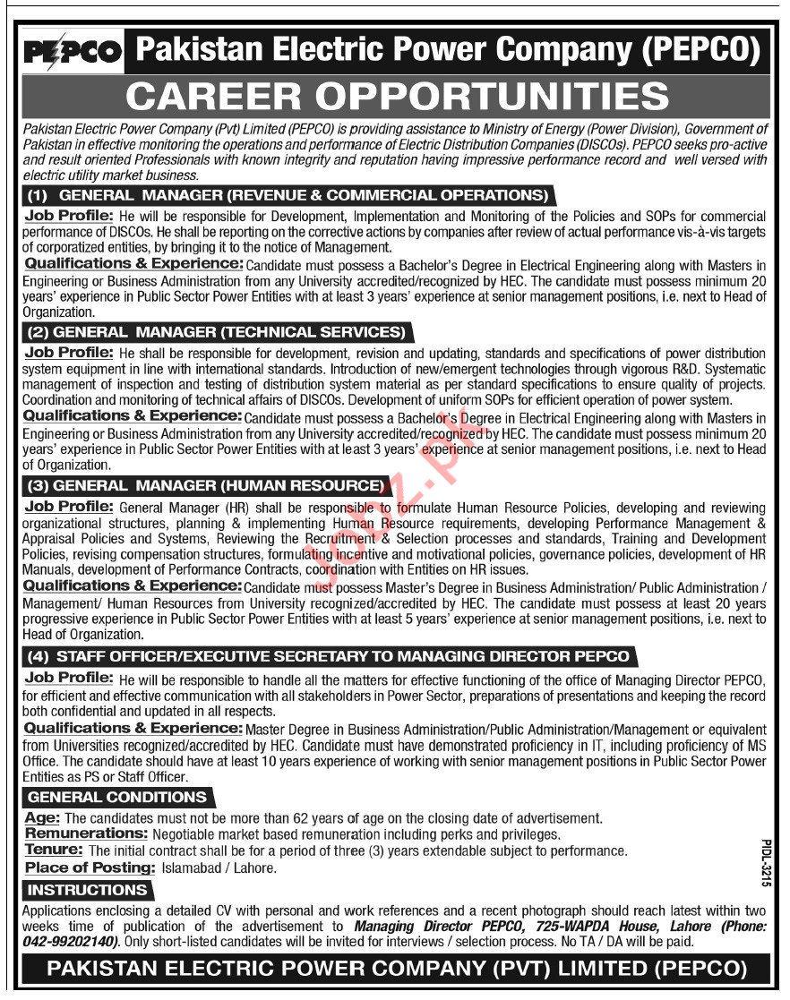 Pakistan Electric Power Company PEPCO Lahore Jobs 2021