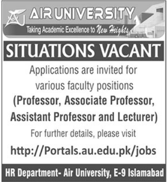 Air University Faculty Staff Jobs 2021 in Islamabad