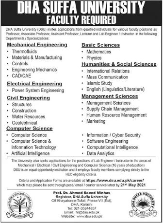 DHA Suffa University Faculty Staff Jobs 2021 in Karachi