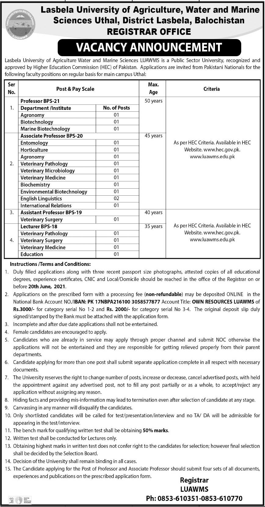 Lasbela University Faculty Staff Jobs 2021