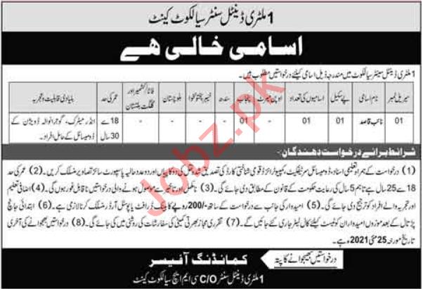 Pakistan Army 1 Military Dental Center Sialkot Jobs 2021