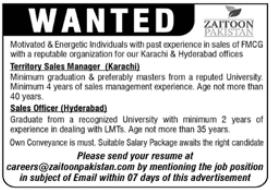 Zaitoon Pakistan Jobs 2021 For Sales Staff