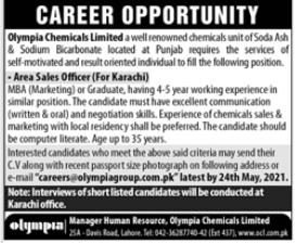 Olympia Chemicals Limited Job 2021 in Karachi
