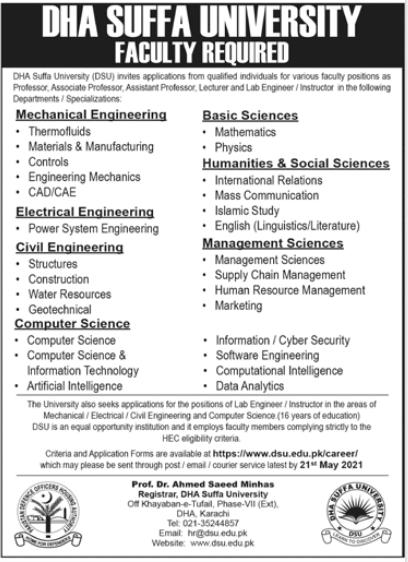 DHA Suffa University Jobs 2021 in Karachi