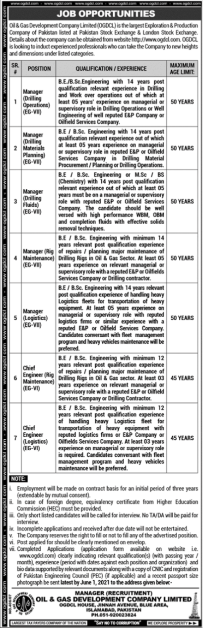 Oil & Gas Development Company Limited OGDCL Jobs 2021