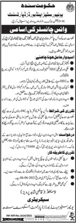 Universities & Boards Department Job 2021 in Karachi