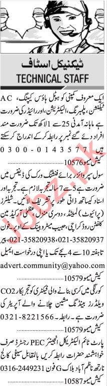 Jang Sunday Classified Ads 9 May 2021 for Technical Staff