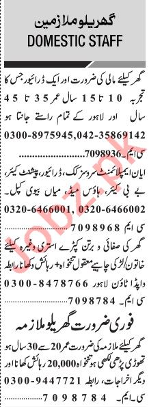 Jang Sunday Classified Ads 9 May 2021 for Domestic Staff