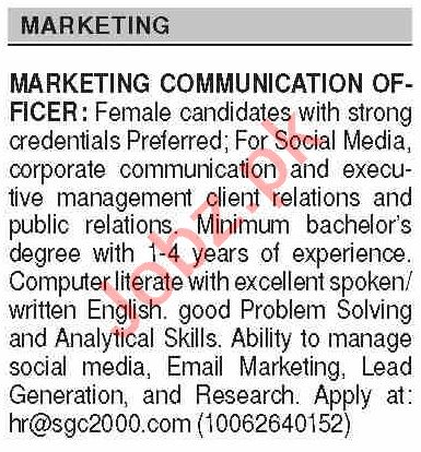 Dawn Sunday Classified Ads 9 May 2021 for Marketing Staff