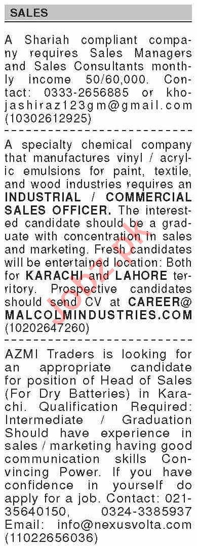 Dawn Sunday Classified Ads 9 May 2021 for Sales Staff