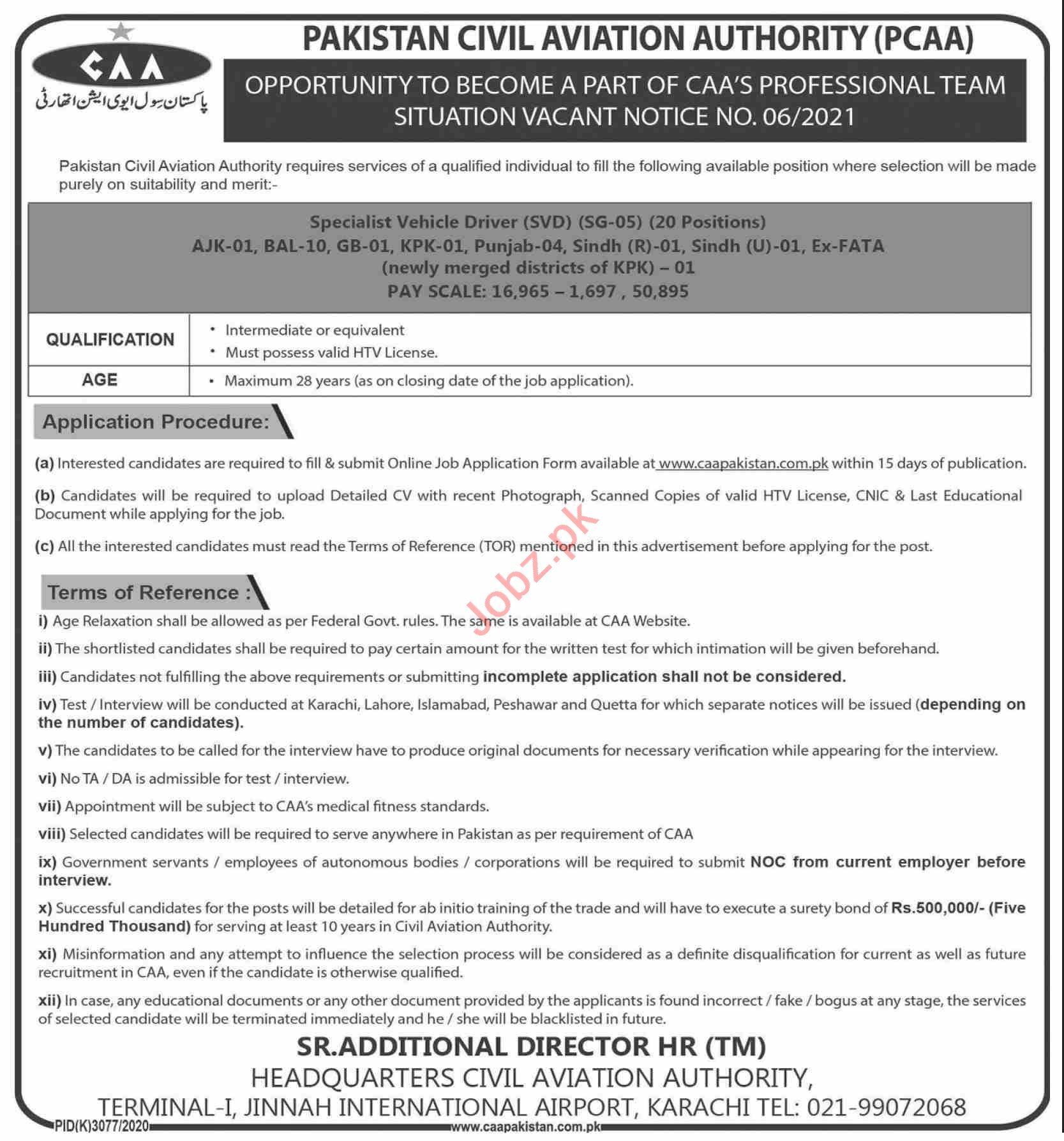 Pakistan Civil Aviation Authority PCCA Jobs 2021 for Drivers