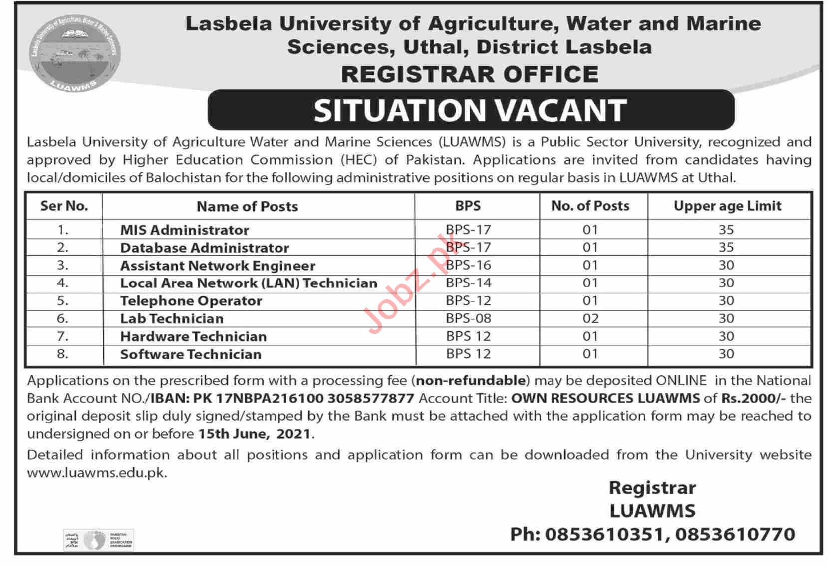Lasbela University of Agriculture Water & Marine Jobs 2021