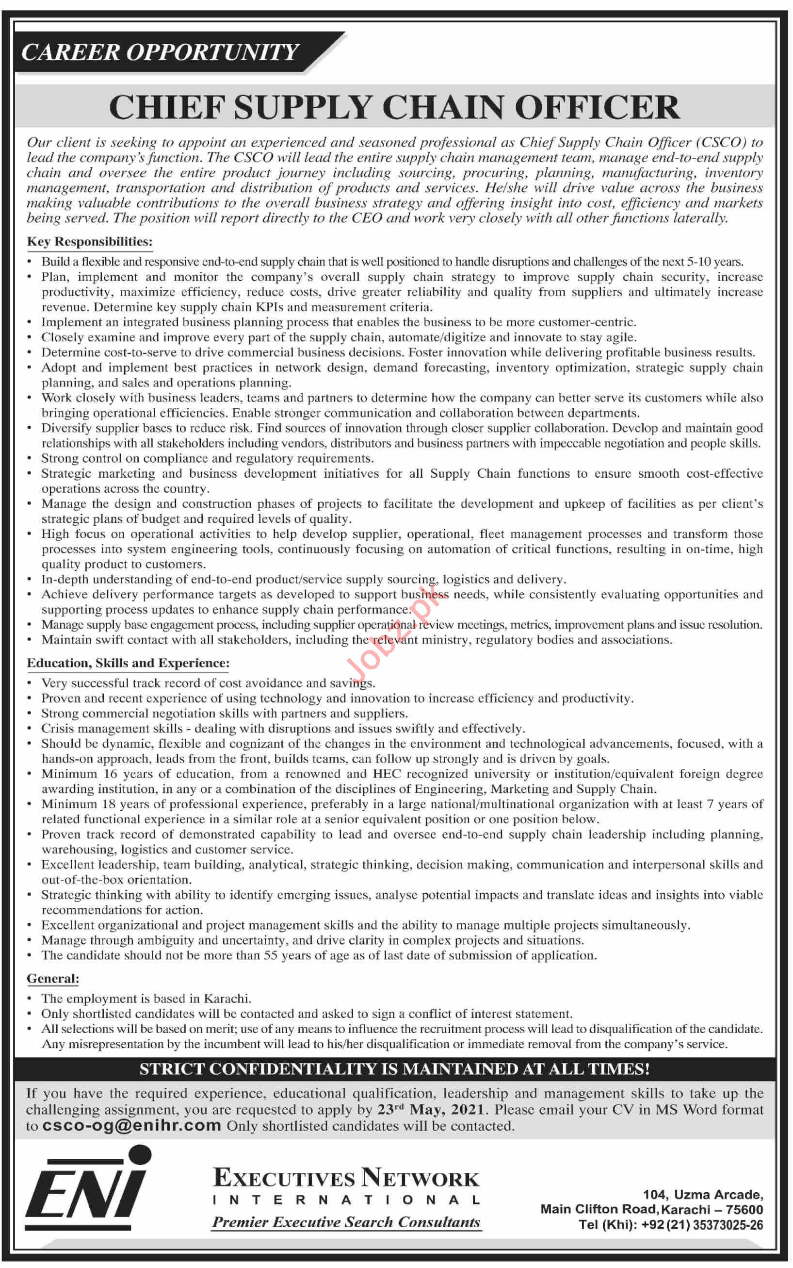 Chief Supply Chain Officer & CSCO Officer Jobs 2021