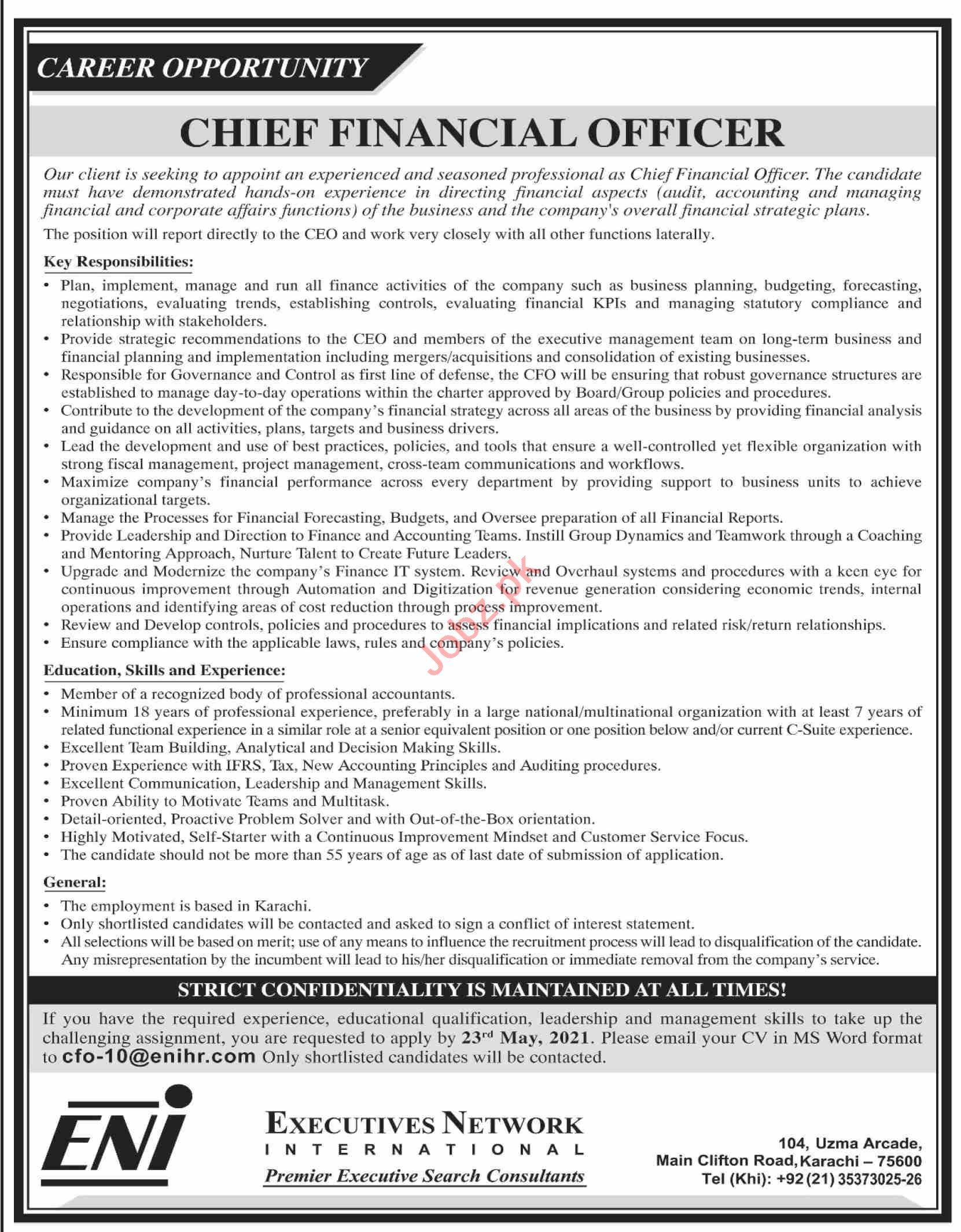 Chief Financial Officer & CFO Jobs 2021 in Karachi