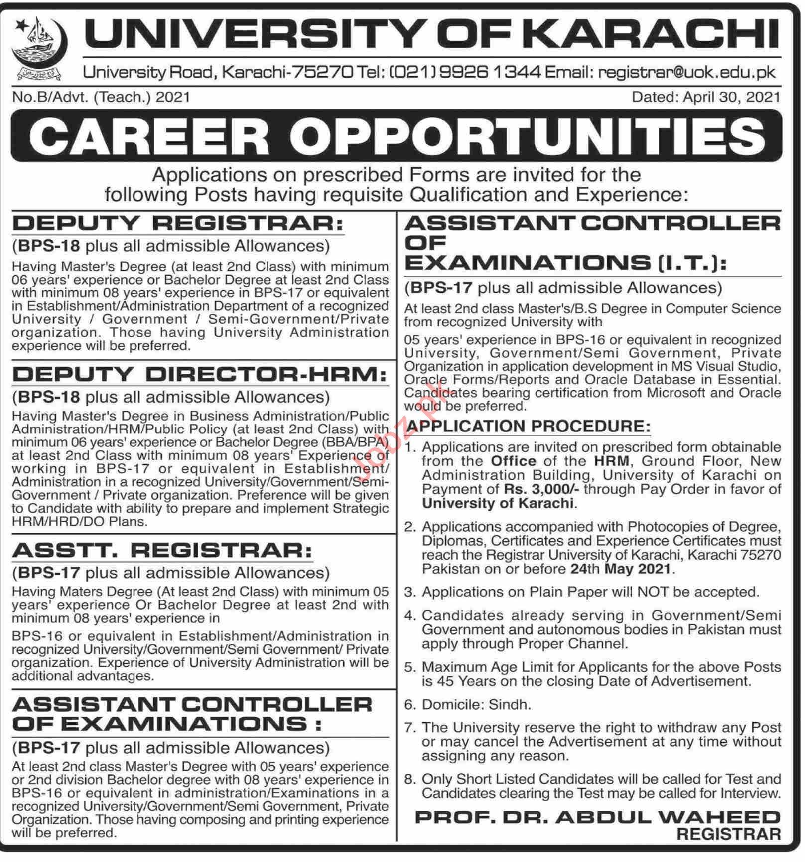 University of Karachi UOK Jobs 2021 for Deputy Registrars