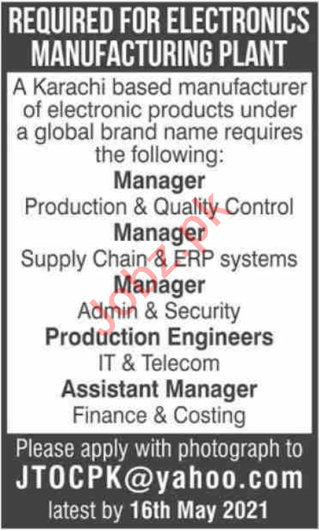 Manager Production & Manager Quality Control Jobs 2021