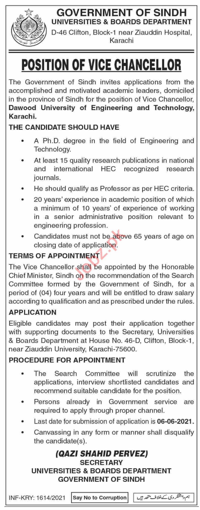 Dawood University of Engineering & Technology DUET Jobs 2021