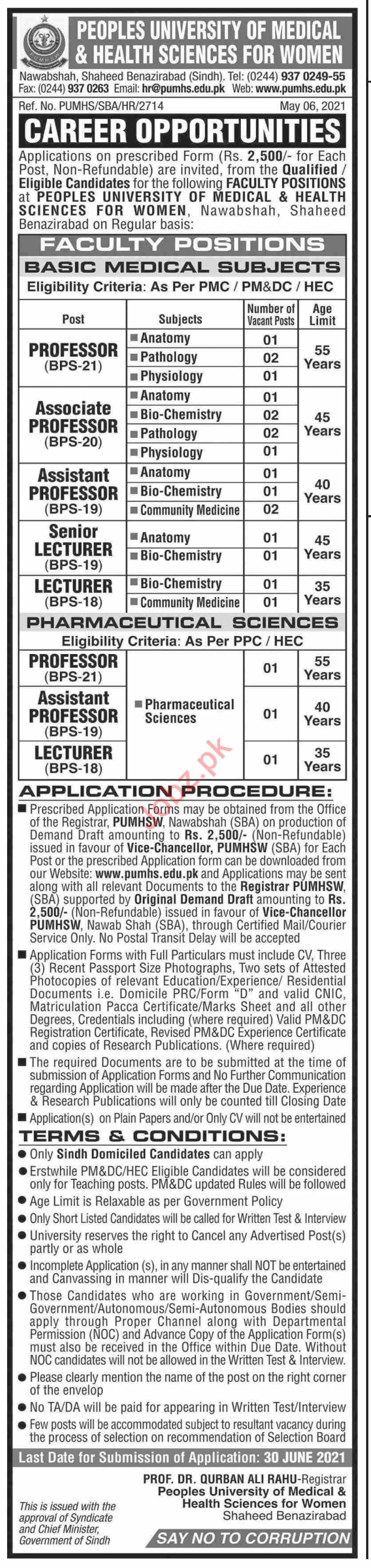 Peoples University of Medical & Health Sciences PUMHS Jobs