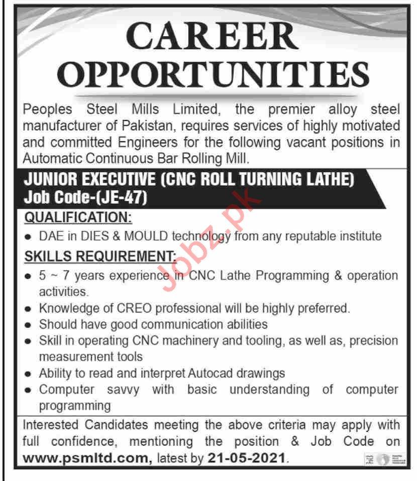 Peoples Steel Mills Limited PSML Jobs 2021 Junior Executive