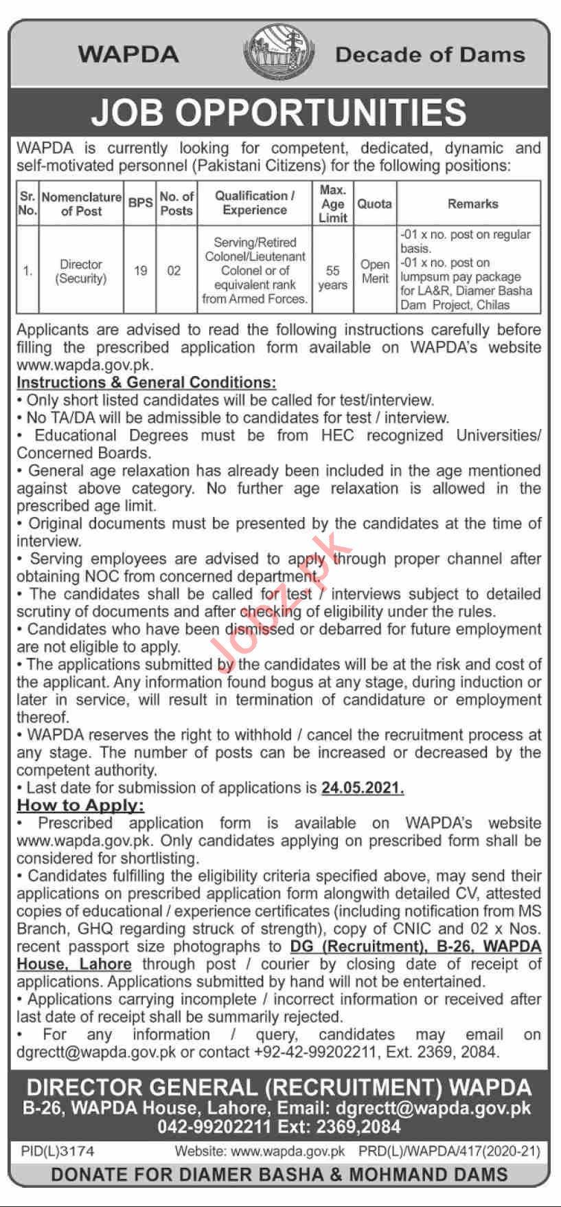 Water & Power Development Authority WAPDA Jobs 2021