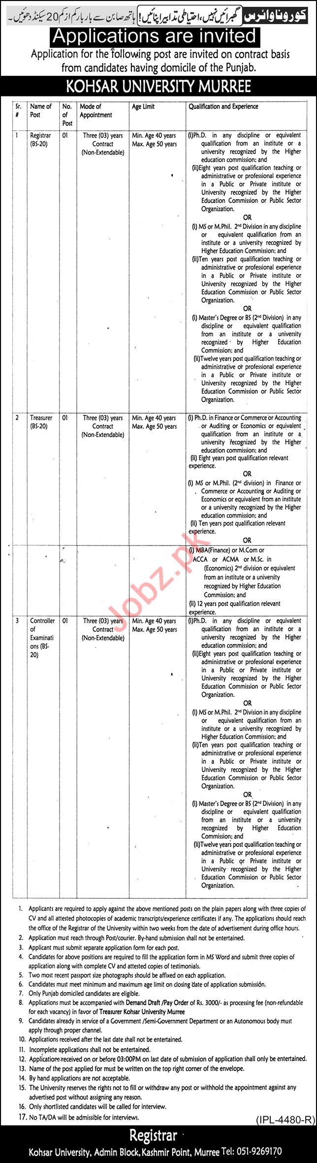 Kohsar University Murree KUM Jobs 2021 Registrar & Treasurer