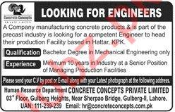 Mechanical Engineer Jobs 2021 in Concrete Concept Hattar